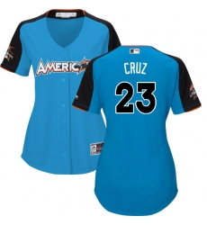Women's Majestic Seattle Mariners #23 Nelson Cruz Authentic Blue American League 2017 MLB All-Star MLB Jersey