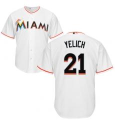 Men's Majestic Miami Marlins #21 Christian Yelich Replica White Home Cool Base MLB Jersey