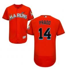 Men's Majestic Miami Marlins #14 Martin Prado Orange Flexbase Authentic Collection MLB Jersey