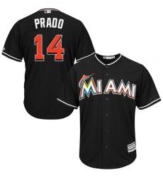 Men's Majestic Miami Marlins #14 Martin Prado Replica Black Alternate 2 Cool Base MLB Jersey