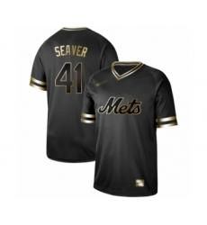 Men's New York Mets #41 Tom Seaver Authentic Black Gold Fashion Baseball Jersey