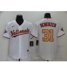 Men's Nike Washington Nationals #31 Max Scherzer White Gold Home Stitched Baseball Jersey