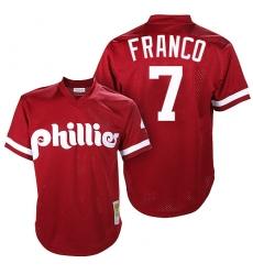 Men's Mitchell and Ness Philadelphia Phillies #7 Maikel Franco Replica Red Throwback MLB Jersey