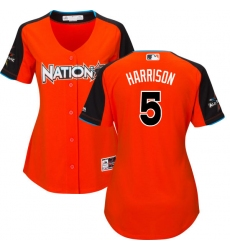 Women's Majestic Pittsburgh Pirates #5 Josh Harrison Authentic Orange National League 2017 MLB All-Star MLB Jersey
