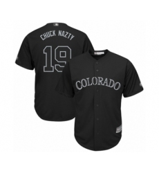 Men's Colorado Rockies #19 Charlie Blackmon  Chuck Nazty Authentic Black 2019 Players Weekend Baseball Jersey