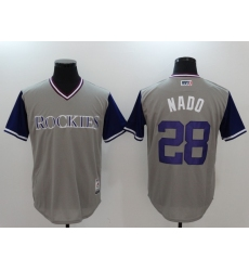 Men's Colorado Rockies #28 Nolan Arenado Gray Baseball Jersey