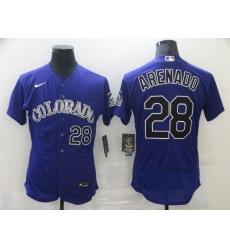 Men's Nike Colorado Rockies #28 Nolan Arenado Purple Alternate Stitched Jersey