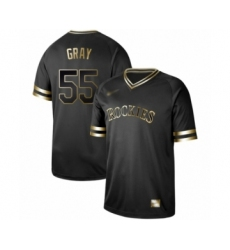 Men's Colorado Rockies #55 Jon Gray Authentic Black Gold Fashion Baseball Jersey