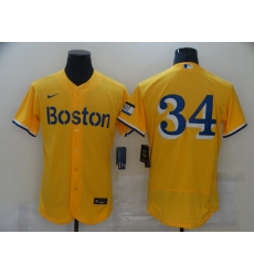 Men's Boston Red Sox #34 David Ortiz Nike Gold-Light Blue 2021 City Connect Jersey