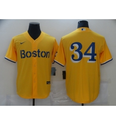 Men's Boston Red Sox #34 David Ortiz Nike Gold-Light Blue 2021 City Connect Replica Player Jersey