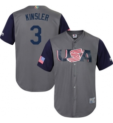 Youth USA Baseball Majestic #3 Ian Kinsler Gray 2017 World Baseball Classic Replica Team Jersey
