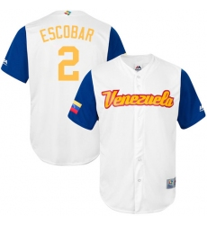 Men's Venezuela Baseball Majestic #2 Alcides Escobar White 2017 World Baseball Classic Replica Team Jersey