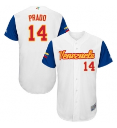 Men's Venezuela Baseball Majestic #14 Martin Prado White 2017 World Baseball Classic Authentic Team Jersey