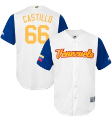 Men's Venezuela Baseball Majestic #66 Jose Castillo White 2017 World Baseball Classic Replica Team Jersey