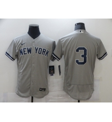 Men's Nike New York Yankees #3 Babe Ruth Grey Road Flex Base Authentic Collection Jersey