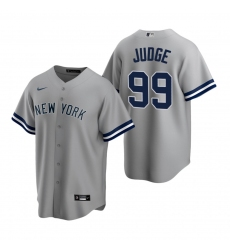Men's Nike New York Yankees #99 Aaron Judge Gray Road Stitched Baseball Jersey