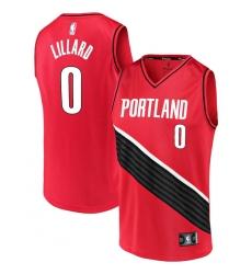 Men's Portland Trail Blazers #0 Damian Lillard Fanatics Branded Red 2020-21 Fast Break Replica Jersey