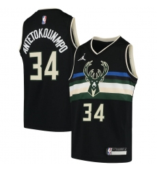 Youth Milwaukee Bucks #34 Giannis Antetokounmpo Jordan Brand Black 2020-21 Swingman Player Jersey