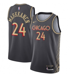 Men's Chicago Bulls #24 Lauri Markkanen Nike Gray 2020-21 Swingman Player Jersey