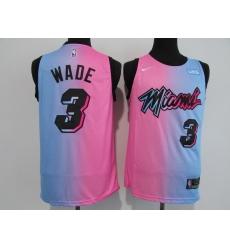 Men's Miami Heat #3 Dwyane Wade Pink-Blue Swingman Basketball Jersey