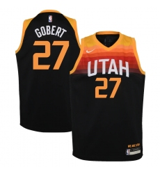 Youth Utah Jazz #27 Rudy Gobert Nike Black 2020-21 Swingman Jersey