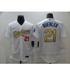 Men's Los Angeles Dodgers #21 Walker Buehl Olive Gold Authentic Jersey