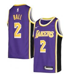 Youth Los Angeles Lakers #2 Lonzo Ball Nike Purple 2020-21 Swingman Jersey