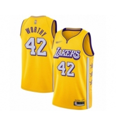 Men's Los Angeles Lakers #42 James Worthy Swingman Gold 2019-20 City Edition Basketball Jersey