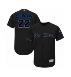 Men's Miami Marlins #22 Sandy Alcantara Black Alternate Flex Base Authentic Collection Baseball Jersey