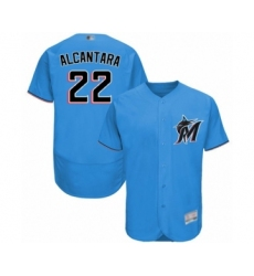 Men's Miami Marlins #22 Sandy Alcantara Blue Alternate Flex Base Authentic Collection Baseball Jersey