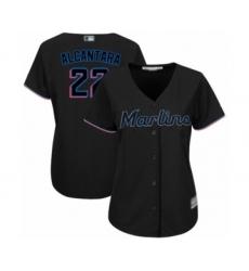 Women's Miami Marlins #22 Sandy Alcantara Authentic Black Alternate 2 Cool Base Baseball Jersey