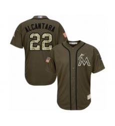 Youth Miami Marlins #22 Sandy Alcantara Authentic Green Salute to Service Baseball Jersey