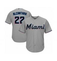 Youth Miami Marlins #22 Sandy Alcantara Authentic Grey Road Cool Base Baseball Jersey
