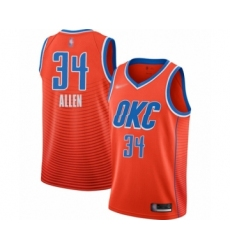 Men's Oklahoma City Thunder #34 Ray Allen Authentic Orange Finished Basketball Jersey - Statement Edition