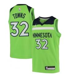 Youth Minnesota Timberwolves #32 Karl-Anthony Towns Jordan Brand Green 2020-21 Swingman Player Jersey