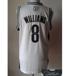 Revolution 30 Autographed Nets #8 Deron Williams White Stitched NBA Jersey