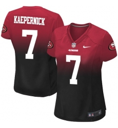 Women's Nike San Francisco 49ers #7 Colin Kaepernick Elite Red/Black Fadeaway NFL Jersey