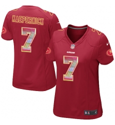 Women's Nike San Francisco 49ers #7 Colin Kaepernick Limited Red Strobe NFL Jersey