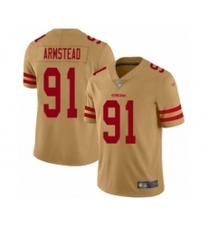 Men's San Francisco 49ers #91 Arik Armstead Limited Gold Inverted Legend Football Jersey