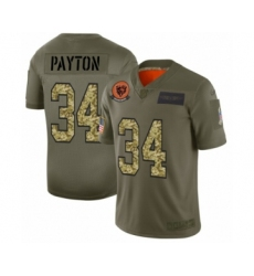 Men's Chicago Bears #34 Walter Payton 2019 Olive Camo Salute to Service Limited Jersey