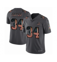 Men's Chicago Bears #34 Walter Payton Limited Black USA Flag 2019 Salute To Service Football Jersey