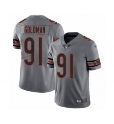 Men's Chicago Bears #91 Eddie Goldman Limited Silver Inverted Legend Football Jersey
