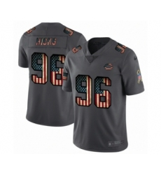 Men's Chicago Bears #96 Akiem Hicks Limited Black USA Flag 2019 Salute To Service Football Jersey