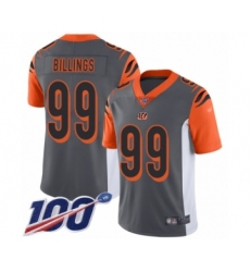 Men's Cincinnati Bengals #99 Andrew Billings Limited Silver Inverted Legend 100th Season Football Jersey