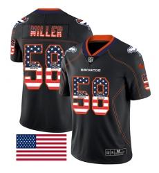 Men's Nike Denver Broncos #58 Von Miller Limited Black Rush USA Flag NFL Jersey