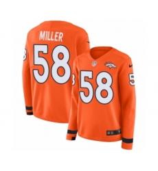Women's Nike Denver Broncos #58 Von Miller Limited Orange Therma Long Sleeve NFL Jersey