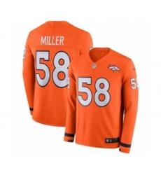 Youth Nike Denver Broncos #58 Von Miller Limited Orange Therma Long Sleeve NFL Jersey
