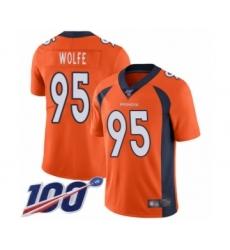 Men's Denver Broncos #95 Derek Wolfe Orange Team Color Vapor Untouchable Limited Player 100th Season Football Jersey