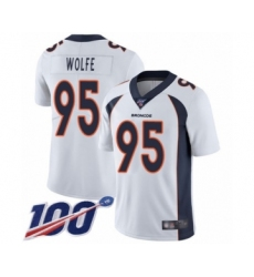 Men's Denver Broncos #95 Derek Wolfe White Vapor Untouchable Limited Player 100th Season Football Jersey