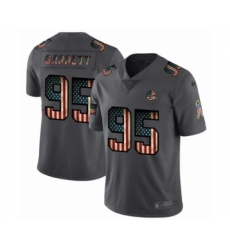 Men's Cleveland Browns #95 Myles Garrett Limited Black USA Flag 2019 Salute To Service Football Jersey
